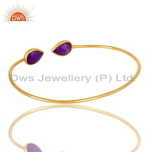 Exporter Purple Chalcedony Adjustable Stack Bangle Made In 14K Yellow Gold Plated Silver