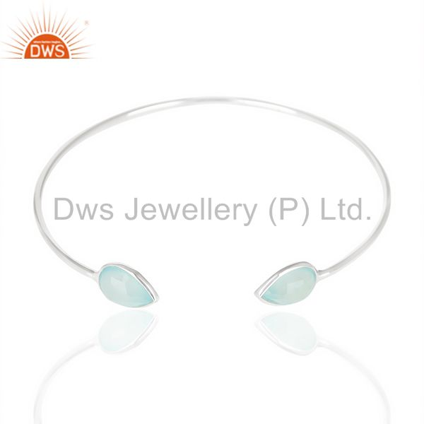 Exporter Aqua Chlacedony Adjustable Openable White Rhodium 92.5 Sterling Silver Bangle