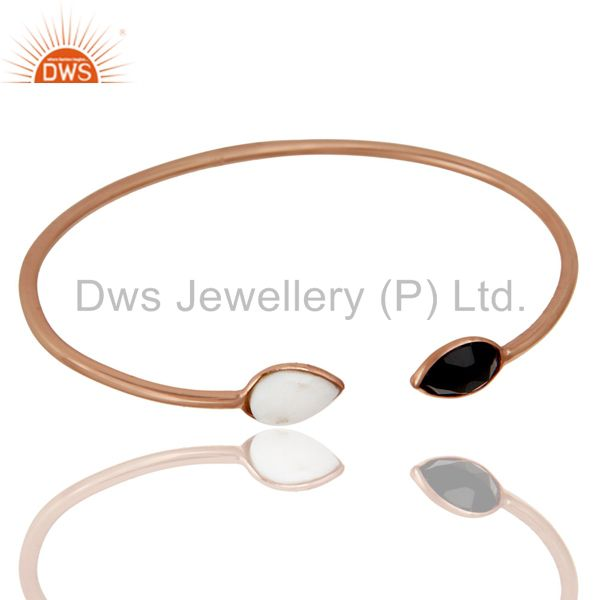 Exporter 18K Rose Gold Plated Sterling Silver White Agate & Black Onyx Stack Open Bangle