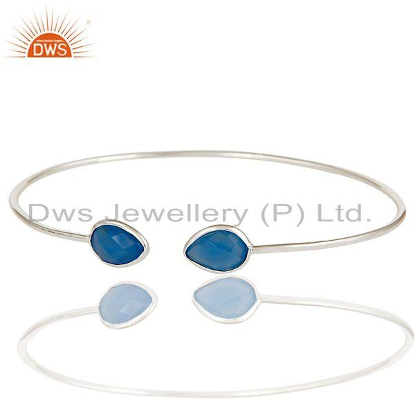 Exporter Handmade Solid 925 Sterling Silver Blue Chalcedony Open Stackable Bangle