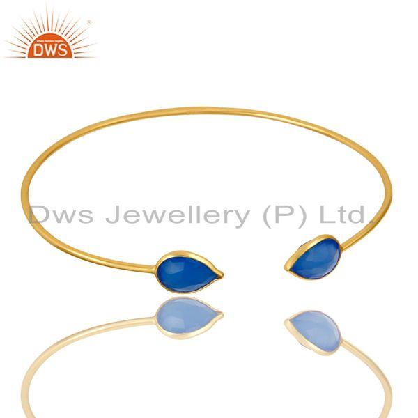 Exporter 18K Rose Gold Plated Sterling Silver Blue Chalcedony Open Stackable Bangle