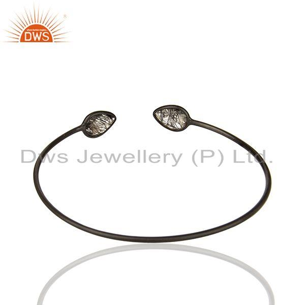 Exporter Black Rutile 925 Sterling Silver Women Bangle Manufacturers of Jewelry