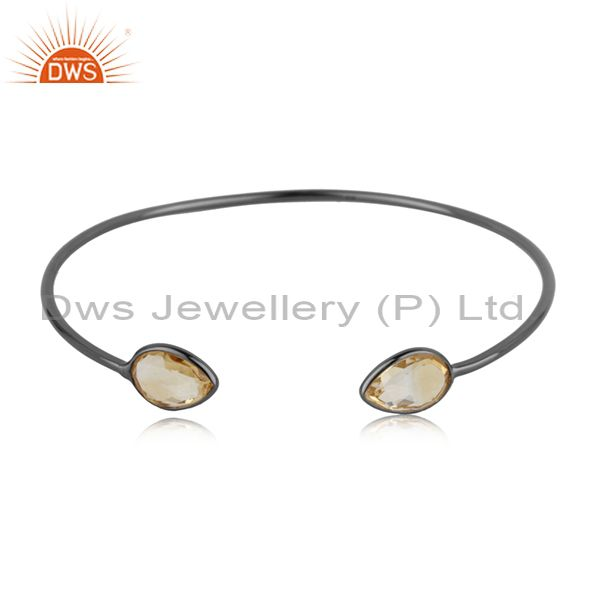 Exporter Citrine Gemstone 925 Silver Black Rhodium Plated Sleek Cuff Bangle Manufacturer