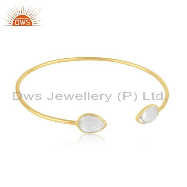 Exporter 14k Gold Plated Sterling Silver Crystal Quartz Simple Cuff Bangle Manufacturer