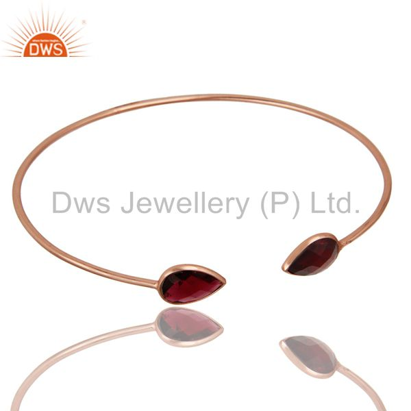 Exporter 18K Rose Gold Plated Sterling Silver Garnet Gemstone Open Stackable Bangle