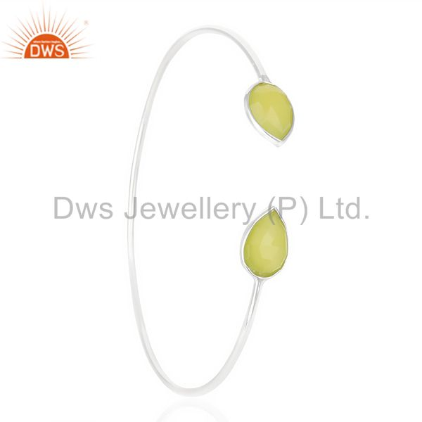 Exporter Prehnite Chlacedony Adjustable Openable White Rhodium 92.5 Sterling SilverBangle