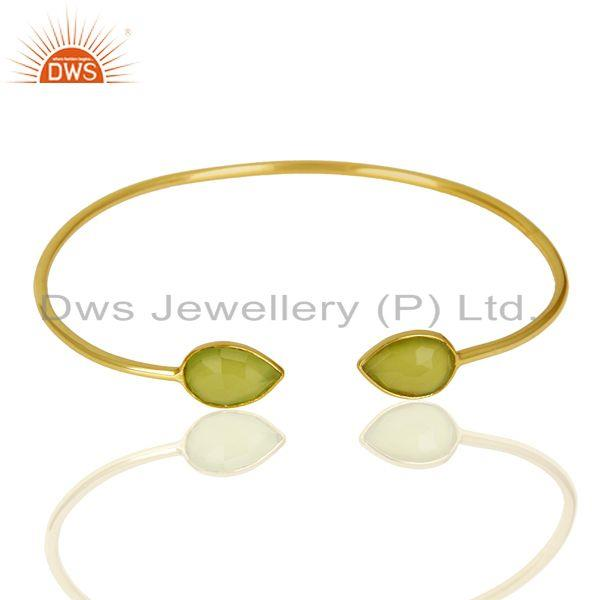 Exporter 14K Gold Plated Sterling Silver Dyed Prehnite Chalcedony Sleek Cuff Bracelet