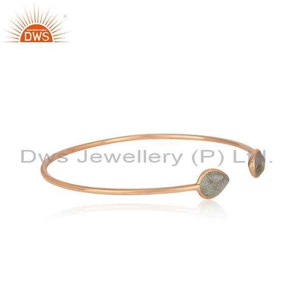 Exporter Labradorite Gemstone Rose Gold Plated 925 Silver Simple Cuff Bangle Manufacturer