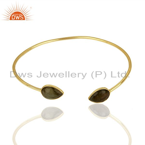 Exporter Gold Plated Silver Designer Labradorite Gemstone Cuff Bangle Jewelry