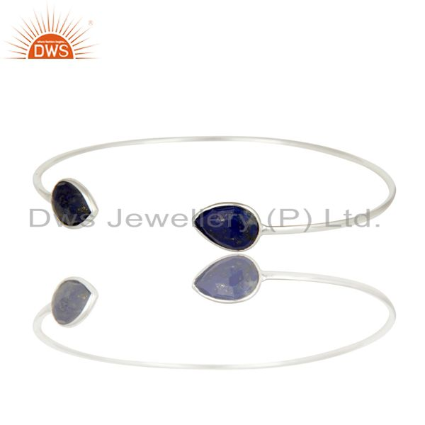 Exporter Solid 925 Sterling Silver Lapis Lazuli Gemstone Openable Sleek Cuff Bangle