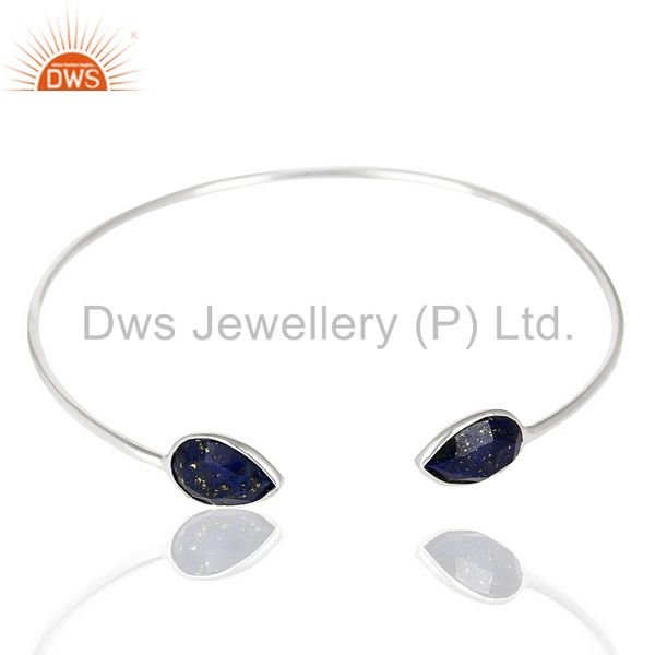 Exporter Lapis Adjustable Openable White Rhodium 92.5 Sterling Silver Bangle
