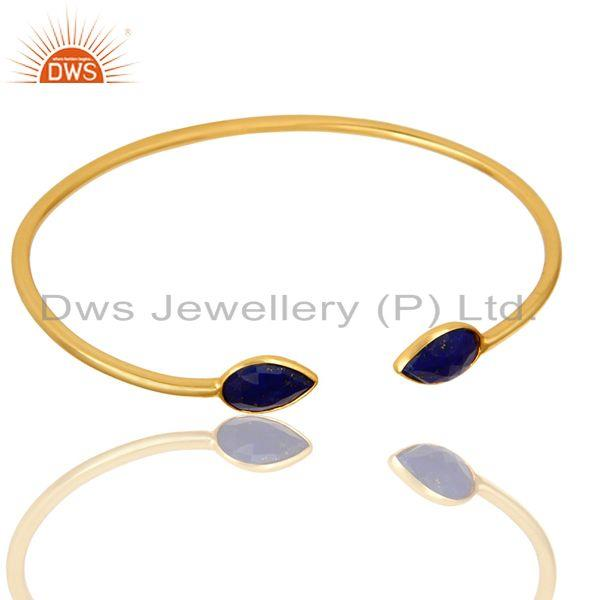 Exporter 18K Yellow Gold Plated Sterling Silver Lapis Lazuli Gemstone Open Bangle