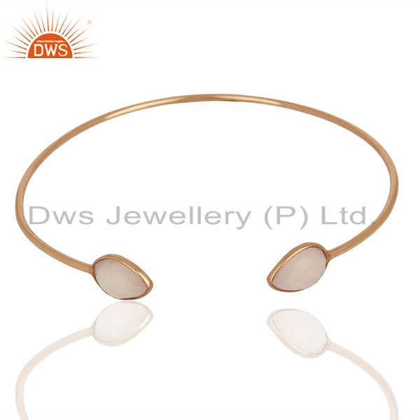 Exporter Rose Chalcedony Gemstone 925 Silver Rose Gold Plated Silver Cuff