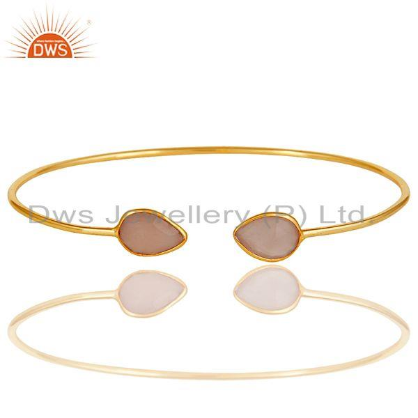 Exporter 18K Yellow Gold Plated Sterling Silver Chalcedony Gemstone Open Stackable Bangle