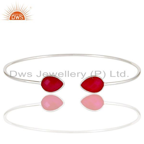 Exporter Handmade Dyed Red Chalcedony Gemstone Solid 925 Sterling Silver Stackable Bangle