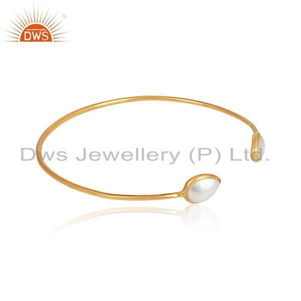 Natural pearl gemstone designer 18k gold plated sleek cuff bangle