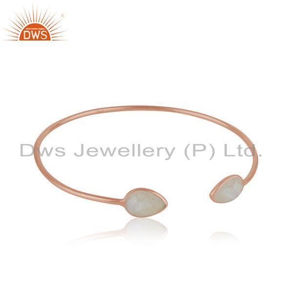 Exporter Rose Gold Plated 925 Silver Rainbow Moonstone Simple Cuff Bracelet Wholesaler