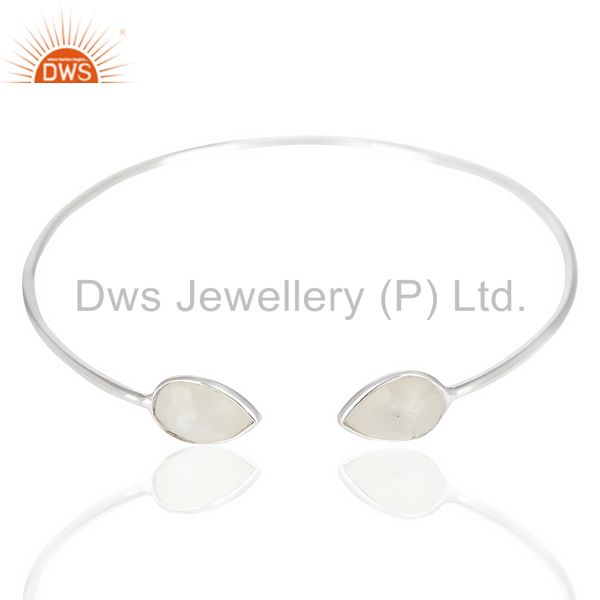 Exporter Natural Rainbow Moonstone Adjustable Openable White Rhodium 92.5 Silver Bangle