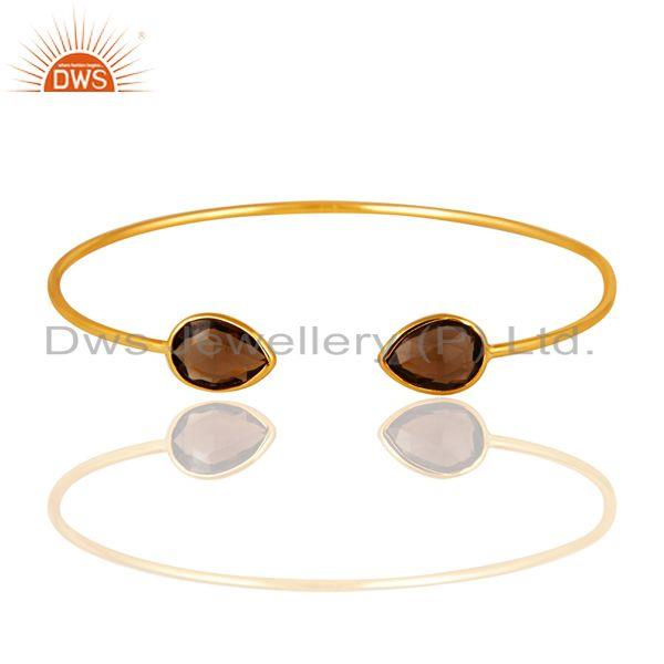 Exporter Smokey Quartz 22K Yellow Gold Plated Sterling Silver Sleek Adjustable Bangle