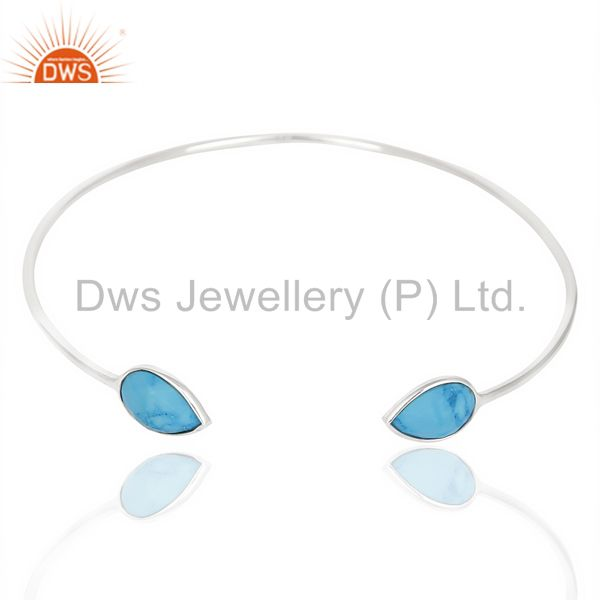Exporter Turquoise Adjustable Openable White Rhodium 92.5 Sterling Silver Bangle