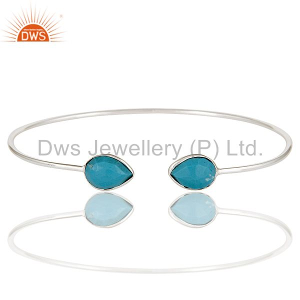 Exporter Solid 925 Sterling Silver Turquoise Gemstone Stackable Open Bangle Jewellery