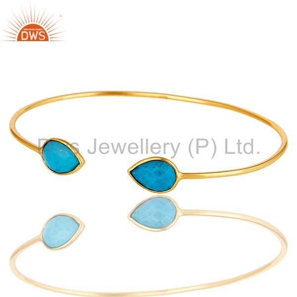 Exporter 18K Rose Gold Plated Sterling Silver Turquoise Gemstone Stackable Open Bangle