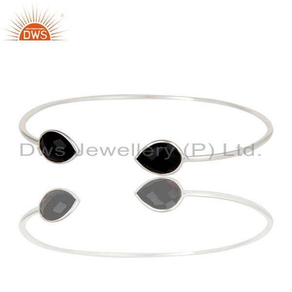 Exporter Indian Handmade Solid 925 Sterling Silver Black Onyx Adjustable Cuff Bangle