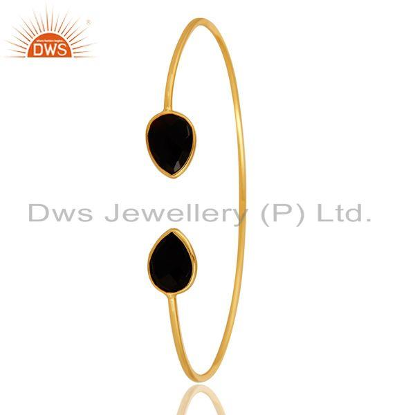 Exporter Shiny Yellow Gold Plated Sterling Silver Adjustable Bangle With Black Onyx