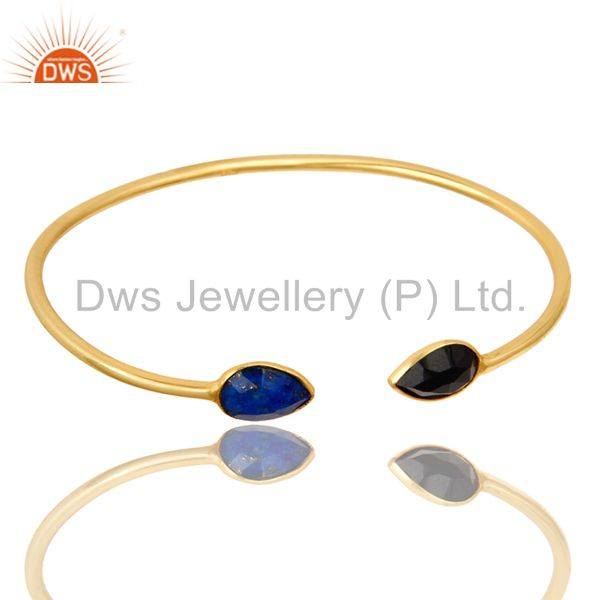 Exporter 22K Yellow Gold Plated Sterling Silver Lapis Lazuli And Black Onyx Open Bangle