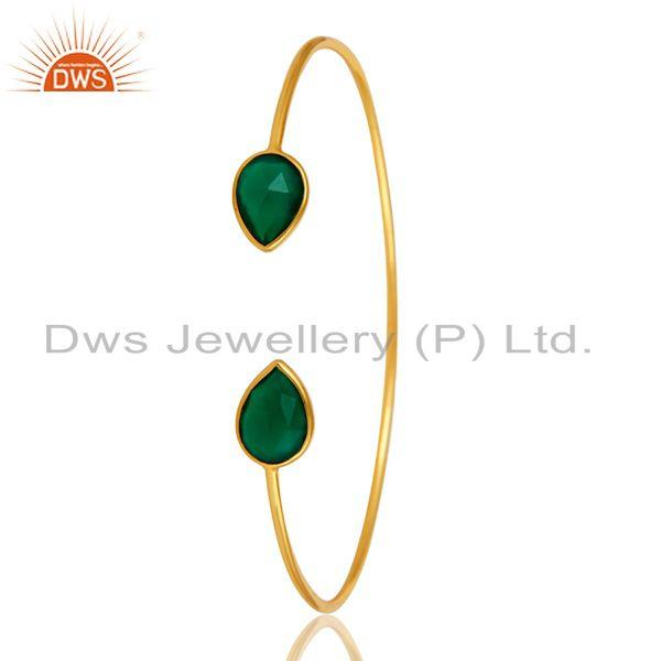 Exporter Natural Green Onyx Gemstone Sterling Silver Adjustable Bangle With Gold Plated