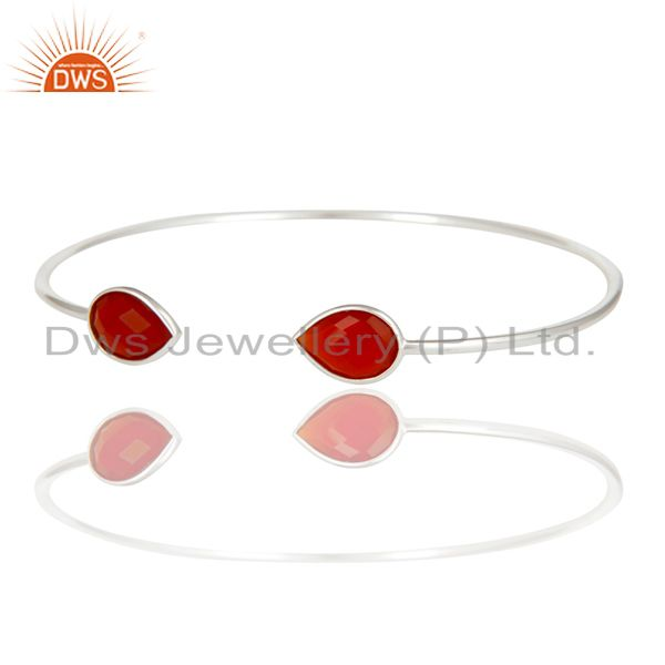 Exporter Handmade Solid 925 Sterling Silver Red Onyx Gemstone Adjustable Cuff Bangle