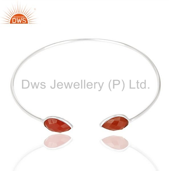 Exporter Red Onyx Adjustable Openable White Rhodium 92.5 Sterling Silver Bangle