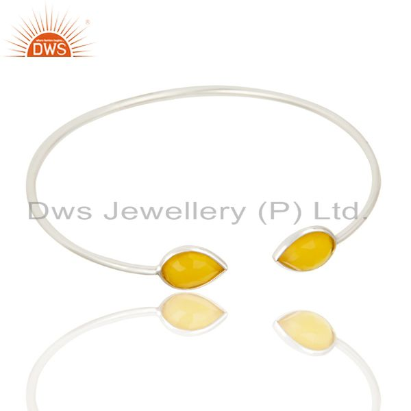 Exporter Faceted Dyed Chalcedony 18K Gold Over Solid Sterling Silver Adjustable Bangle