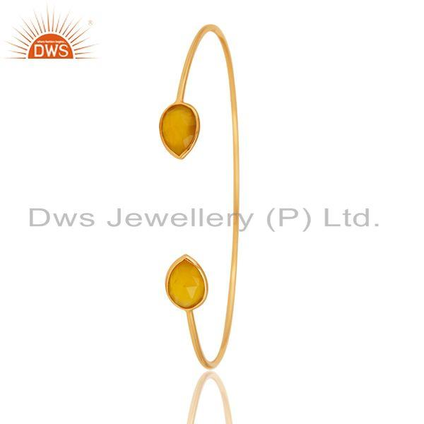 Exporter Faceted Dyed Yellow Chalcedony 18K Gold Over Sterling Silver Adjustable Bangle