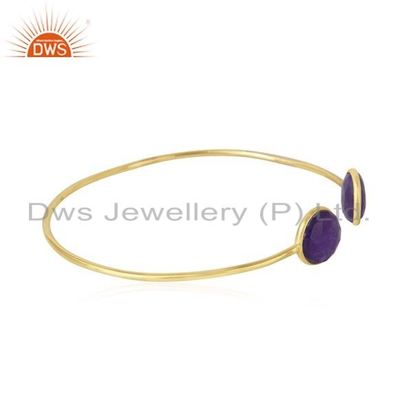 Exporter Purple Aventurine Gemstone Gold Plated 925 Silver Cuff Bangle Jewelry