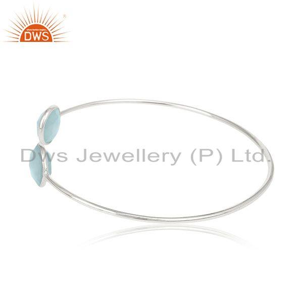 Exporter Blue Chalcedony Gemstone Sterling Silver Cuff Bracelet Manufacturers