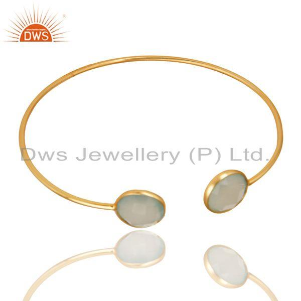 Exporter Faceted Dyed Chalcedony 18K Gold Over 925 Sterling Silver Adjustable Bangle