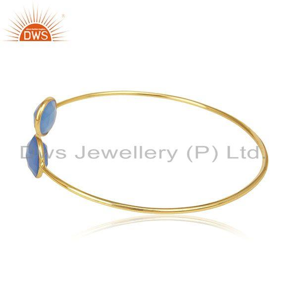 Exporter Gold Plated 925 Silver Blue Chalcedony Gemstone Cuff Bracelet Wholesale