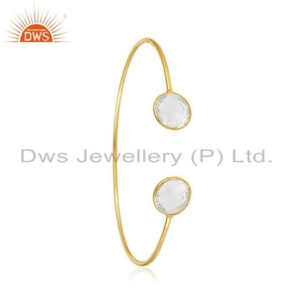 Exporter Clear Crystal Quartz 925 Silver Gold Plated Cuff Bracelet Manufacturer