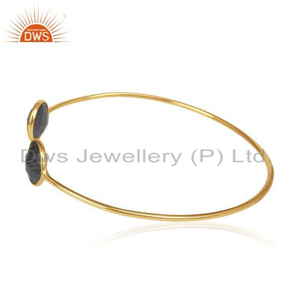 Exporter 925 Silver 18k Gold Plated Labradorite Gemstone Adjustable Cuff Bracelet Jewelry