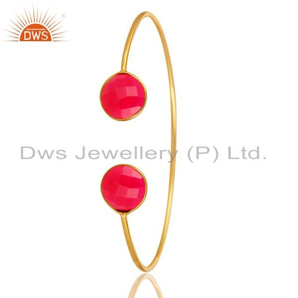 Exporter Dyed Pink Chalcedony Sterling Silver Adjustable Bangle With Yellow Gold Plated
