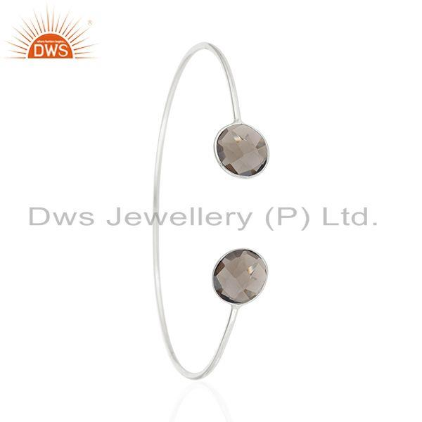 Exporter Smoky Quartz Stone 925 Sterling Silver Cuff Bangle Manufacturer of Jewelry