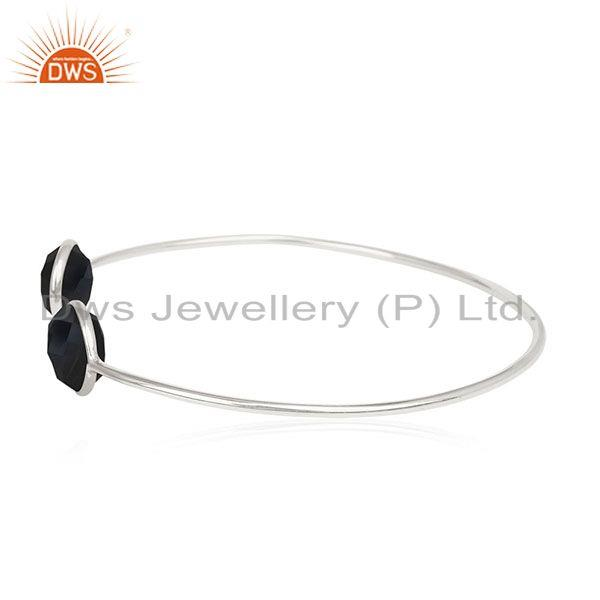 Exporter Black Onyx Gemstone 925 Silver Cuff Bracelet Jewelry Manufacturer for Brands