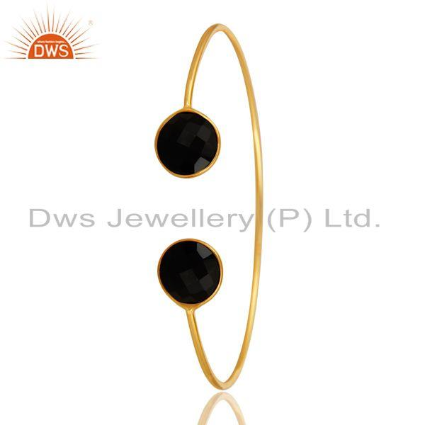 Exporter Faceted Black Onyx Gemstone Adjustable Sleek Bangle In 14K Gold On Sterling Silv