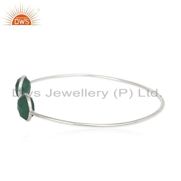Exporter Handmade 925 Silver Green Onyx Gemstone Cuff Bracelet Manufacturer from India