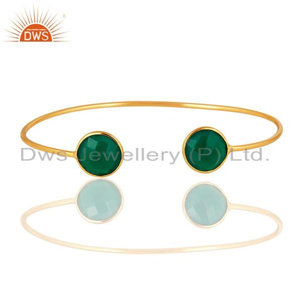 Exporter Bezel-Set Green Onyx Gold Plated Sterling Silver Sleek Adjustable Bangle