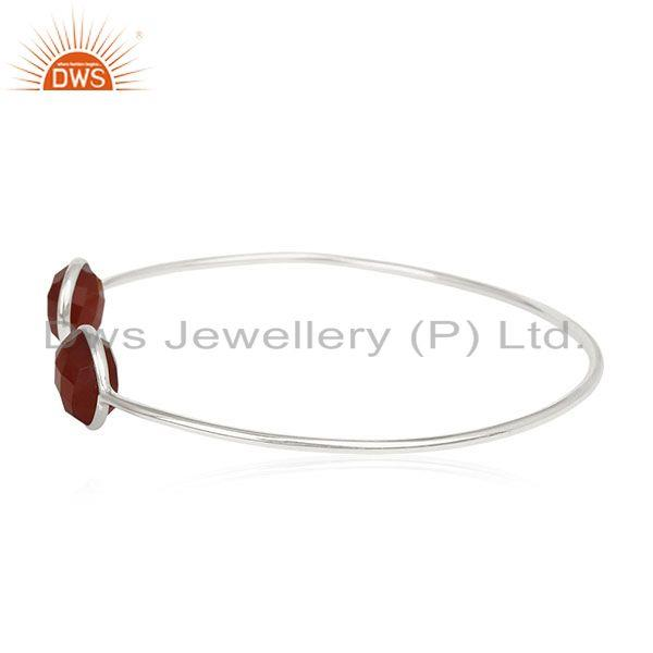 Exporter Red Onyx Gemstone 925 Sterling Silver Adjustable Cuff Bracelet Manufacturer