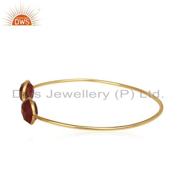 Exporter Red Onyx Gemstone 925 Silver Gold Plated Cuff Bracelet Manufacturer