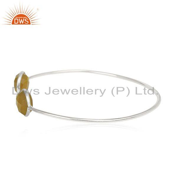 Exporter Yellow Chalcedony Gemstone 925 Sterling Silver Cuff Bracelet Wholesale