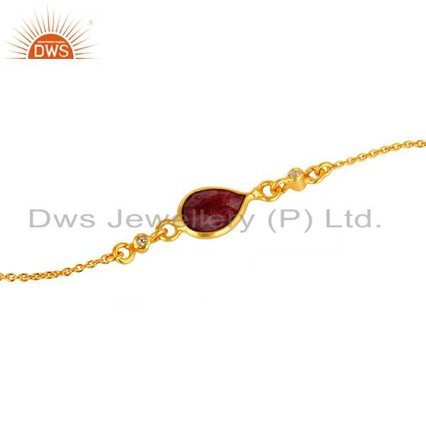 Exporter 14K Yellow Gold Plated Sterling Silver Ruby And White Topaz Chain Bracelet